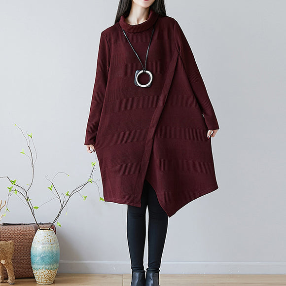 Fall/winter new style plus size women's thick high collar irregular fashion mid-length dress