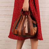 Vintage contrast color sheepskin handbag