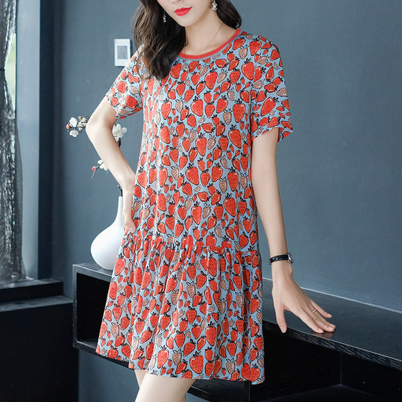A-line loose silk strawberry dress