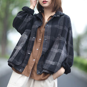 Large plaid distressed denim jacket
