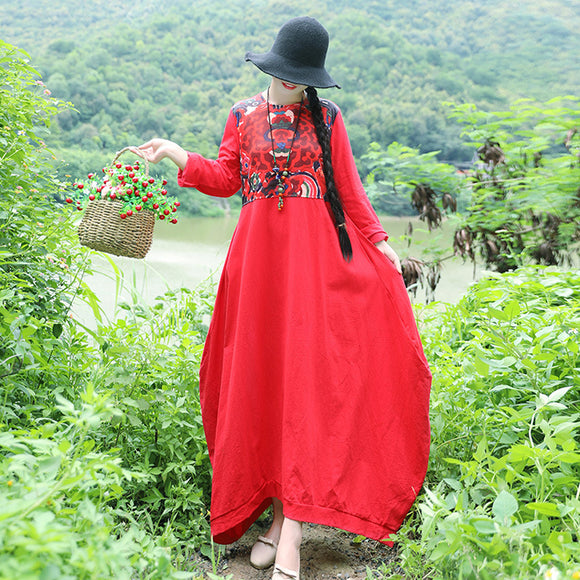 Plus size cotton and linen dress retro round neck print ethnic long skirt