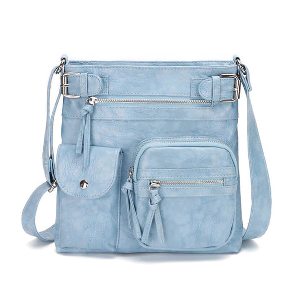 Distressed grain square PU leather crossbody bag