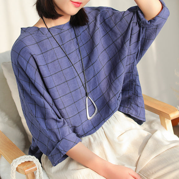 Linen plaid T-shirt loose plus size top