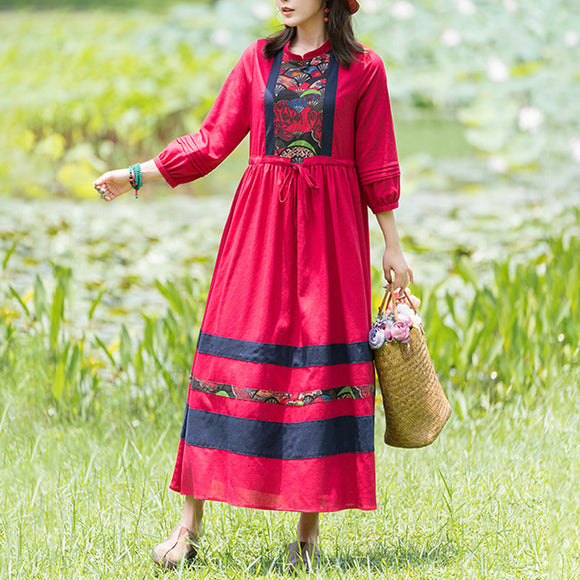 Autumn new ethnic style cotton and linen printed long skirt, retro literary temperament, drawstring waist dress