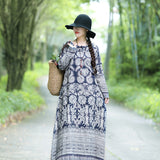 Plus size long-sleeved cotton and linen women's ethnic print long dress