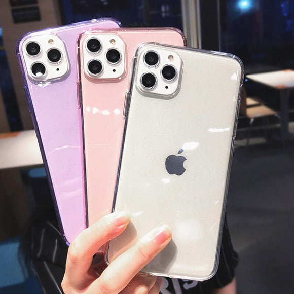 [Suitable for iPhone brands]Pure color shiny transparent phone case