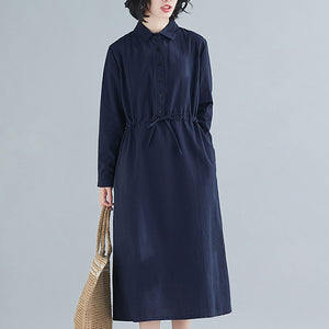 Fall new style loose plus size women's casual long sleeve dress cotton and linen waist dress