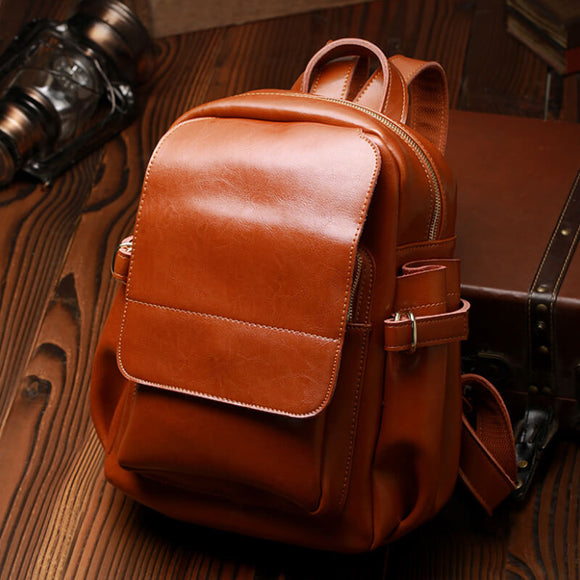 Oil wax leather travel backpack
