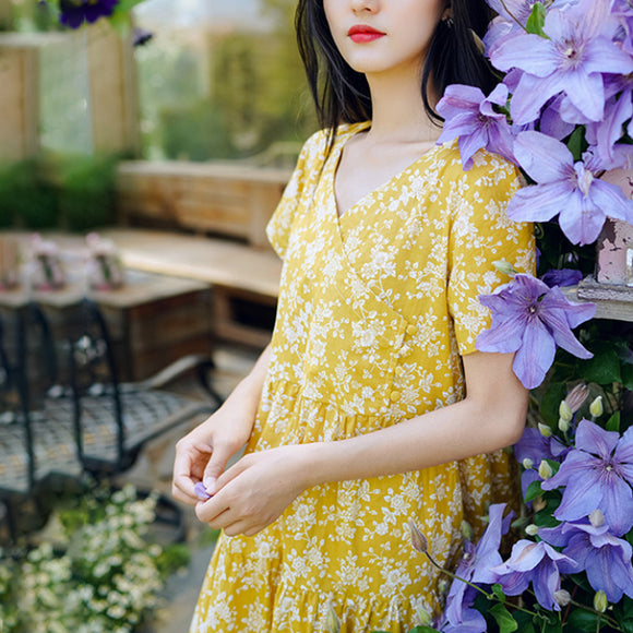100% cotton summer floral dress new style V-neck print dress