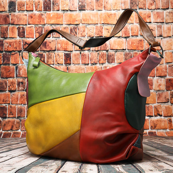 Large-capacity stitching color crossbody bag