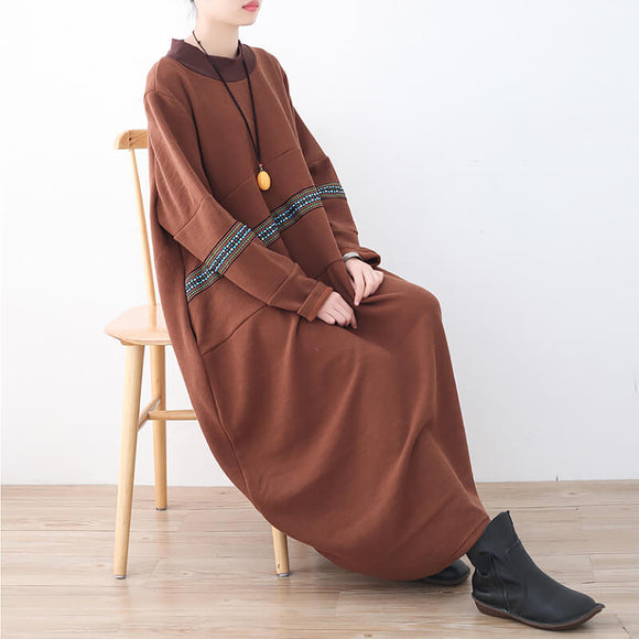 Autumn and winter style literary long-sleeved loose dress