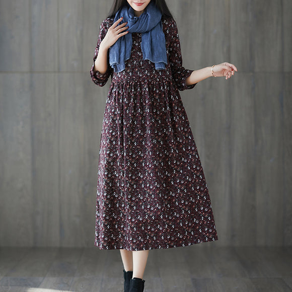 Autumn loose plus size women's fashion comfortable floral long dress