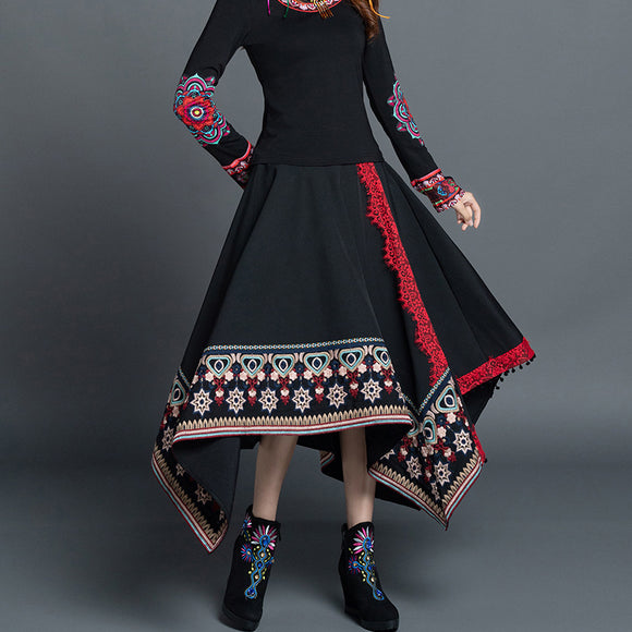 Autumn new style retro ethnic embroidery irregular skirt corduroy skirt