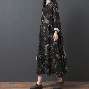 Literary and artistic loose printed cotton and linen round neck long-sleeved dress female long shirt dress