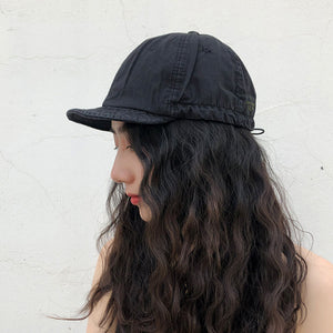 Soft top short brim baseball cap
