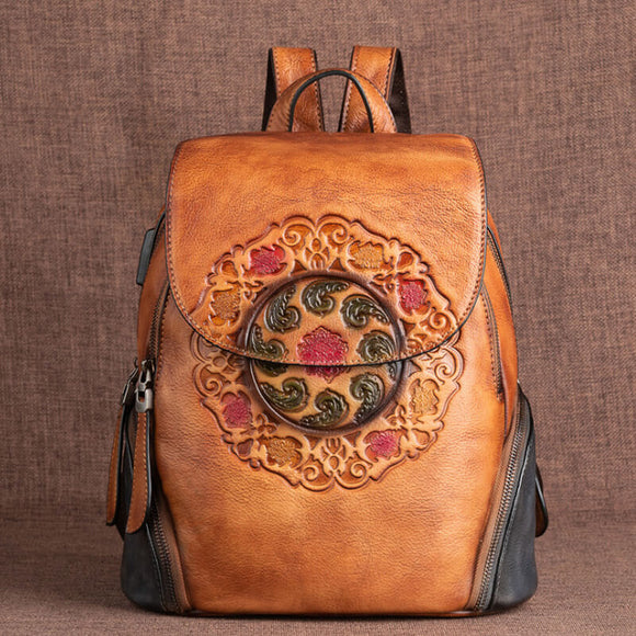 Vintage embossed leather ladies backpack