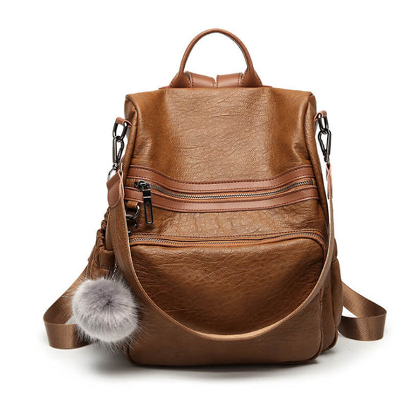 Multifunctional ladies fashion PU leather anti-theft backpack
