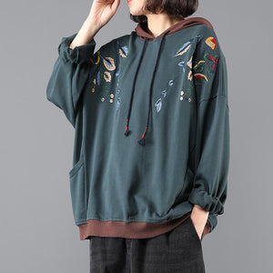 Cotton Hooded Embroidered Sweatshirt Retro Art Loose Pullover Casual Top
