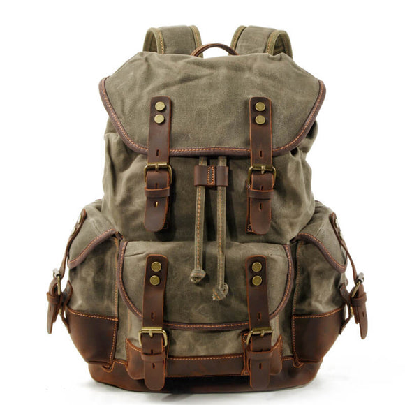 Canvas and leather stitching large capacity travel backpack