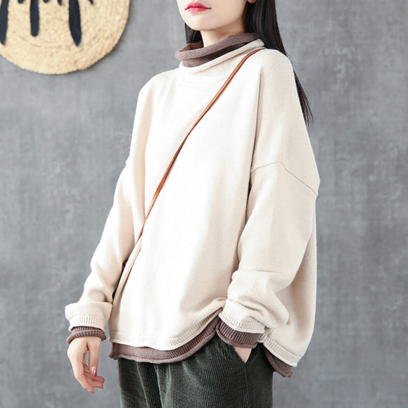 Loose sweater retro fake two-piece turtleneck sweater