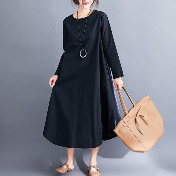 Plus size autumn new style two-color splicing literary leisure large size long skirt loose large size cotton and linen dress
