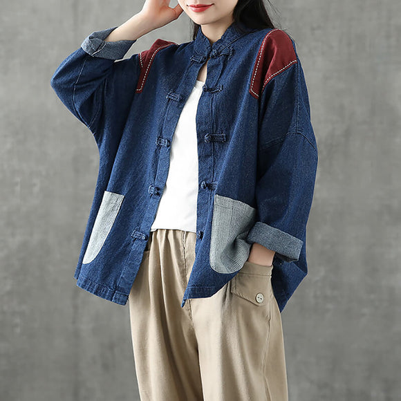 Retro denim shirt loose all-match shirt stand collar casual top