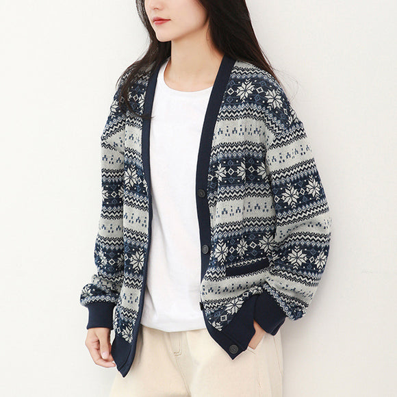 New autumn fashion women's V-neck knitted cardigan loose retro style jacket