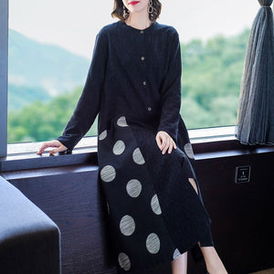Autumn new fashion plus size women's cotton and linen polka dot stitching thin windbreaker linen cardigan outer jacket