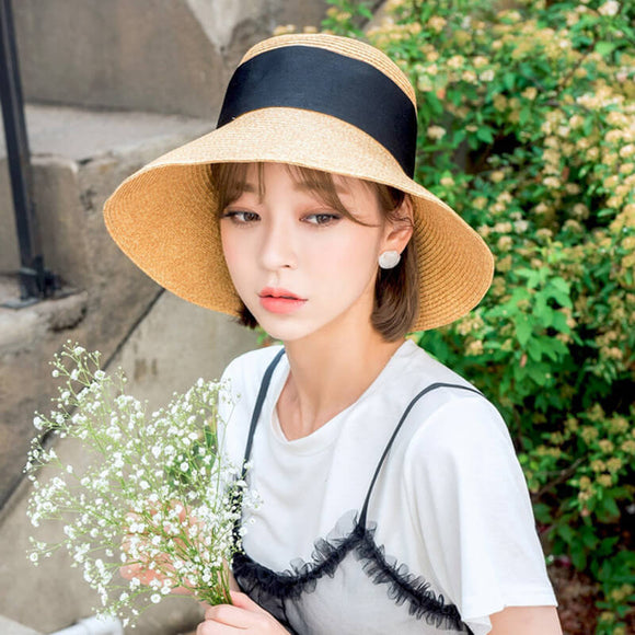 Foldable beach hat fashion straw hat big brim sun hat ladies hat