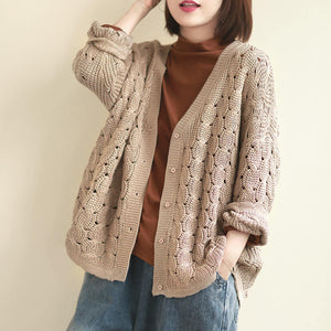 Loose openwork long-sleeved knitted cardigan top