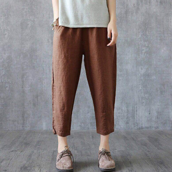 Plus size cotton and linen nine-point harem  pants