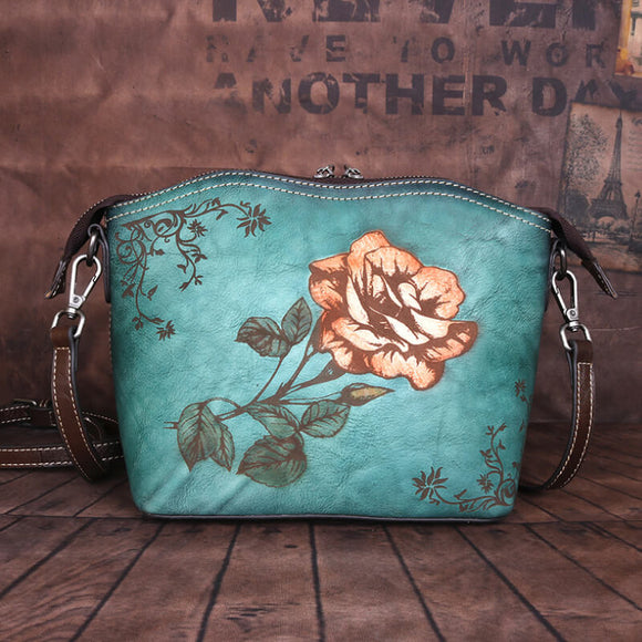 Double zipper leather rose flower handbag