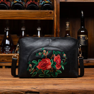 Black embroidered crossbody bag-Thorns Rose Edition