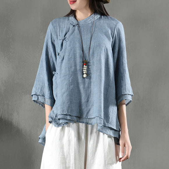 Chinese style retro stand-collar shirt double-layer yarn top