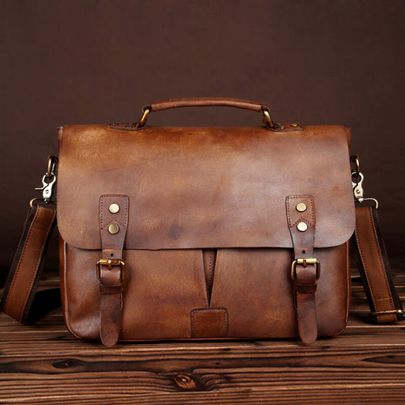 Vegetable tanned leather hand-polished briefcase