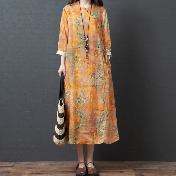 Plus size printed cotton and linen women's clothing/linen dress
