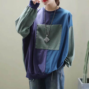 Large round neck long sleeve color block T-shirt