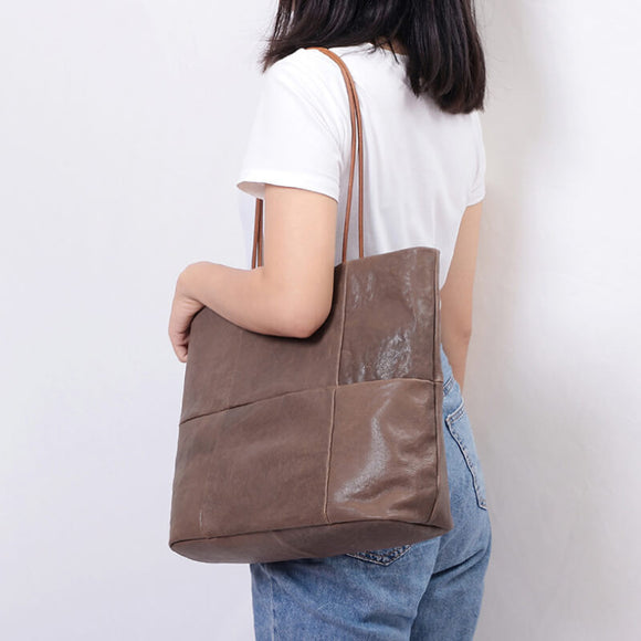 Large capacity sheepskin stitching tote bag