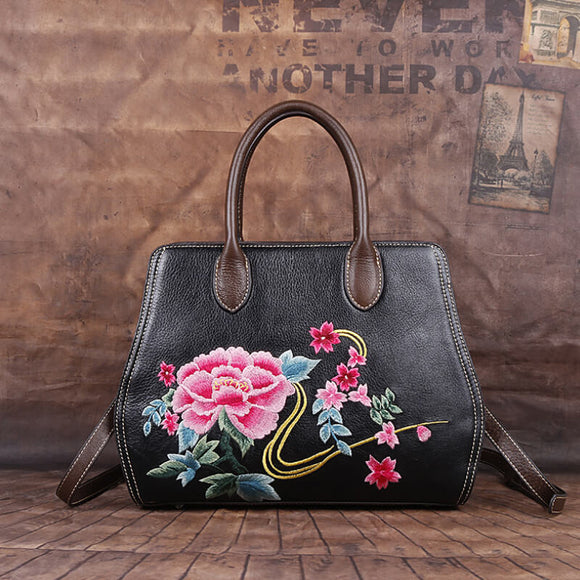 Peony embroidered leather handbag