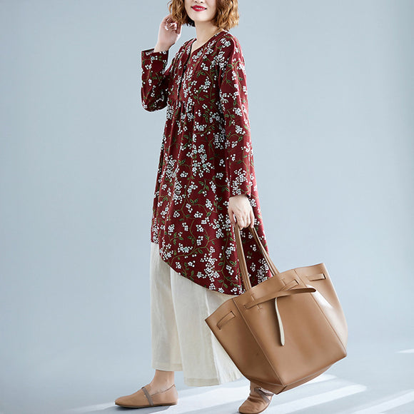 Autumn new style literary retro printing V-neck casual mid-length Tops large size loose cotton and linen long-sleeved