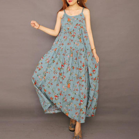 Plus Size - Summer Floral Printed Cool Suspender Dress