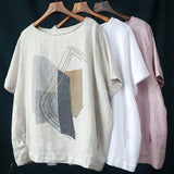Plus size printed linen T-shirt ladies round neck short sleeve
