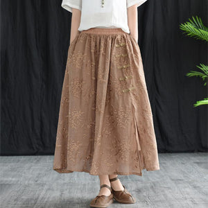 Women Embroidered Ramie Loose Summer Skirt