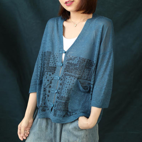 Prints Single Breasted Women Linen Loose Shirt
