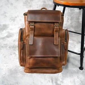 Large capacity vintage cowhide backpack