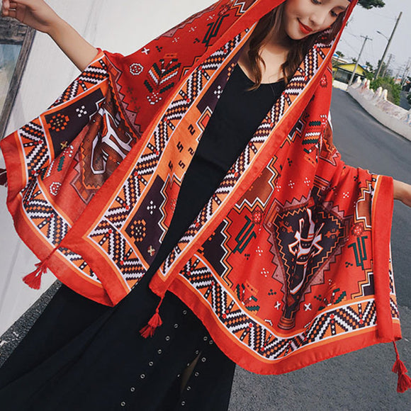 Seaside travel printed beach towel cotton and linen scarf female fringed sunscreen ethnic scarf shawl
