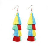 Handmade rope braided rainbow tassel vintage earrings