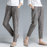 Ankle Length Gray Coffee Stripe Literature Cotton Linen Women Pants - Buykud