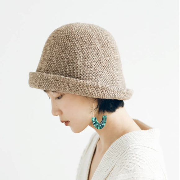 All-match solid color knitted fisherman hat for autumn and winter