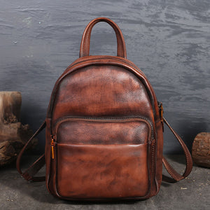 Vintage ladies travel leather backpack